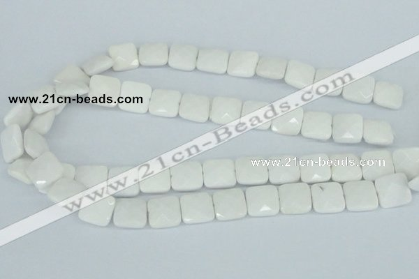 CAA04 15.5 inches 10*10mm faceted square white agate gemstone beads