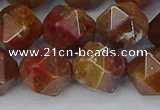 CAA1003 15.5 inches 12mm faceted nuggets red moss agate beads