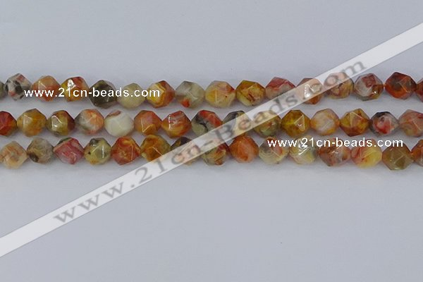 CAA1016 15.5 inches 10mm faceted nuggets red crazy lace agate beads