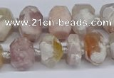 CAA1115 15.5 inches 10*14mm - 12*16mm faceted nuggets sakura agate beads