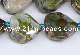 CAA1137 18*20mm - 25*35mm faceted freeform dragon veins agate beads
