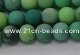 CAA1151 15.5 inches 6mm round matte grass agate beads wholesale
