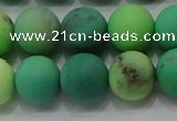 CAA1152 15.5 inches 8mm round matte grass agate beads wholesale