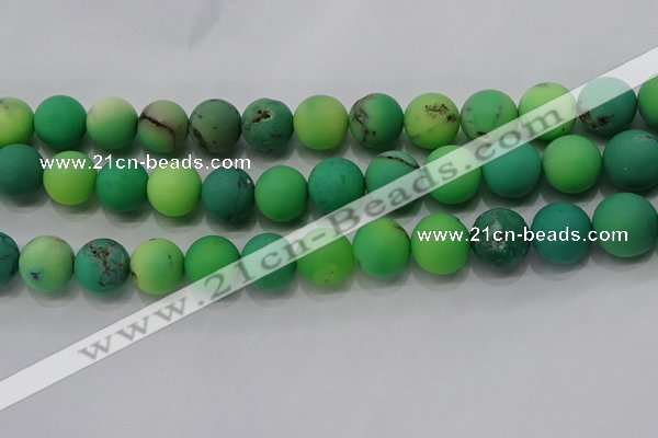 CAA1153 15.5 inches 10mm round matte grass agate beads wholesale