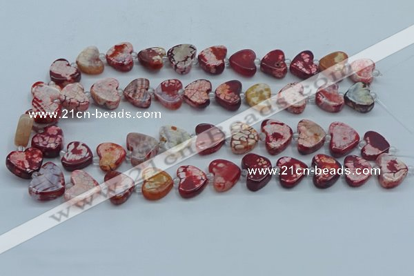 CAA1188 15.5 inches 16mm - 18mm heart dragon veins agate beads
