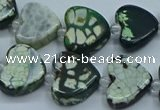 CAA1190 15.5 inches 16mm - 18mm heart dragon veins agate beads
