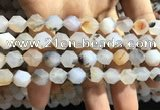 CAA1232 15.5 inches 10mm faceted nuggets matte dendritic agate beads