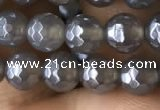 CAA1260 15.5 inches 6mm faceted round AB-color grey agate beads