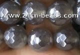 CAA1261 15.5 inches 8mm faceted round AB-color grey agate beads