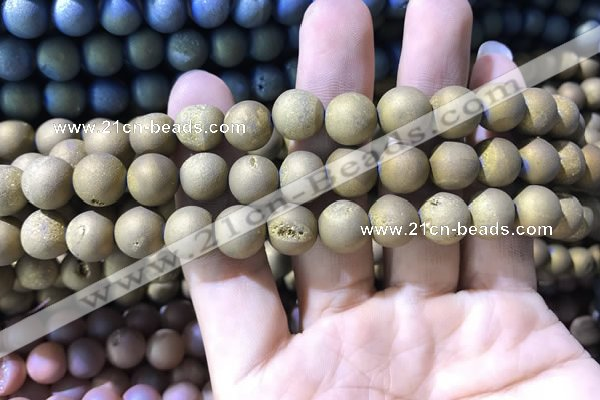 CAA1316 15.5 inches 10mm round matte plated druzy agate beads