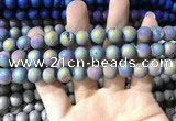 CAA1318 15.5 inches 10mm round matte plated druzy agate beads