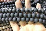 CAA1320 15.5 inches 10mm round matte plated druzy agate beads