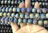 CAA1339 15.5 inches 12mm round matte plated druzy agate beads