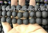 CAA1361 15.5 inches 14mm round matte plated druzy agate beads