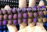 CAA1374 15.5 inches 16mm round matte plated druzy agate beads