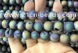 CAA1379 15.5 inches 16mm round matte plated druzy agate beads