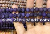 CAA1406 15.5 inches 8mm round matte druzy agate beads