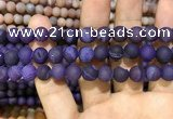 CAA1421 15.5 inches 10mm round matte druzy agate beads