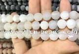 CAA1445 15.5 inches 14mm round matte druzy agate beads