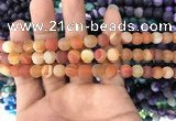 CAA1490 15.5 inches 6mm round matte banded agate beads wholesale