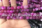 CAA1501 15.5 inches 8mm round matte banded agate beads wholesale