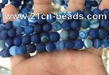 CAA1507 15.5 inches 10mm round matte banded agate beads wholesale