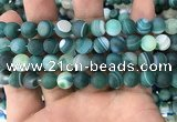 CAA1513 15.5 inches 12mm round matte banded agate beads wholesale