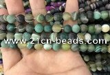 CAA1521 15.5 inches 8mm round matte banded agate beads wholesale