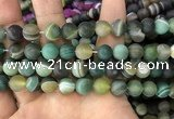 CAA1523 15.5 inches 12mm round matte banded agate beads wholesale
