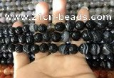 CAA1642 15.5 inches 10mm faceted round banded agate beads