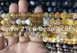 CAA1646 15.5 inches 8mm faceted round banded agate beads