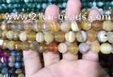 CAA1647 15.5 inches 10mm faceted round banded agate beads