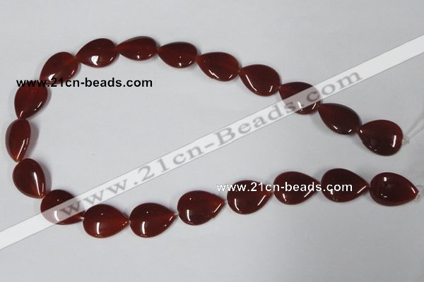 CAA166 15.5 inches 15*20mm flat teardrop red agate gemstone beads