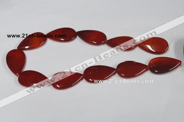CAA167 15.5 inches 22*36mm flat teardrop red agate gemstone beads