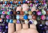 CAA1682 15.5 inches 10mm faceted round banded agate beads