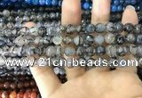 CAA1700 15 inches 8mm faceted round fire crackle agate beads