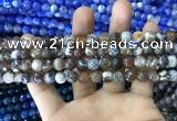 CAA1704 15 inches 8mm faceted round fire crackle agate beads