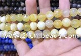 CAA1705 15 inches 8mm faceted round fire crackle agate beads