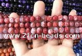 CAA1710 15 inches 8mm faceted round fire crackle agate beads