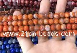 CAA1711 15 inches 8mm faceted round fire crackle agate beads