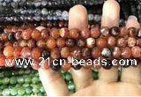 CAA1713 15 inches 8mm faceted round fire crackle agate beads