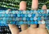 CAA1714 15 inches 8mm faceted round fire crackle agate beads