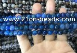 CAA1716 15 inches 8mm faceted round fire crackle agate beads