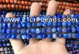 CAA1718 15 inches 8mm faceted round fire crackle agate beads