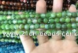 CAA1719 15 inches 8mm faceted round fire crackle agate beads