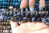 CAA1728 15 inches 10mm faceted round fire crackle agate beads