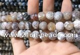 CAA1729 15 inches 10mm faceted round fire crackle agate beads