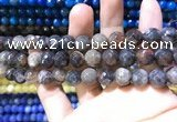 CAA1730 15 inches 10mm faceted round fire crackle agate beads