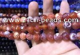 CAA1733 15 inches 10mm faceted round fire crackle agate beads