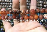 CAA1734 15 inches 10mm faceted round fire crackle agate beads